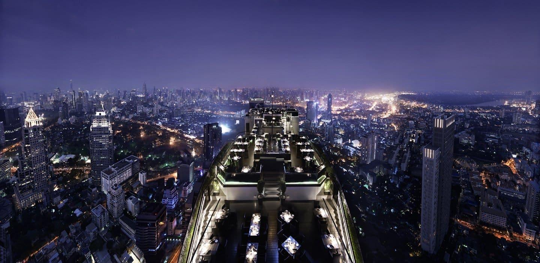 view of Bangkok at night from the Vertigo Moon Bar at The Banyan Tree hotel in Bangkok