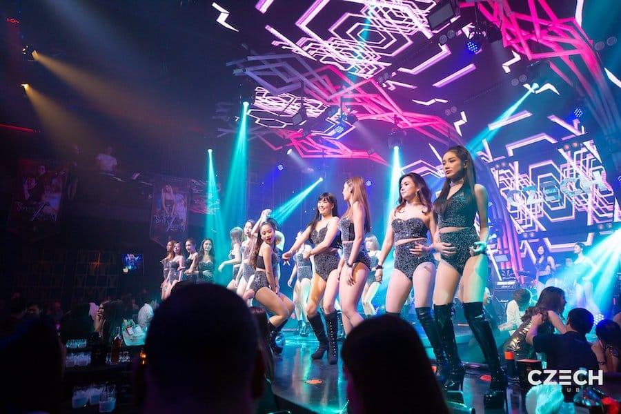 Thai girls dancing on stage at Czech Club in Ekamai Bangkok