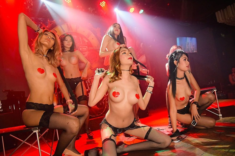 erotic sexy show with topless models on stage at The PIMP Bangkok