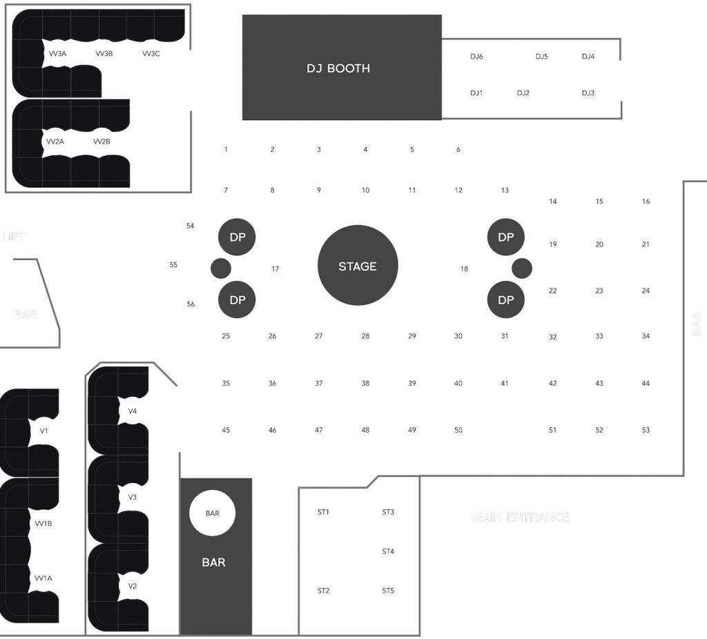 Insanity nightclub Bangkok floor plan