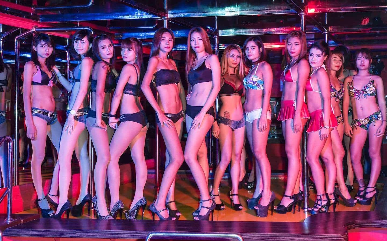 Thai girls on stage of a gogo bar in Bangkok