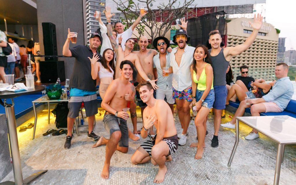group at a pool party in Bangkok