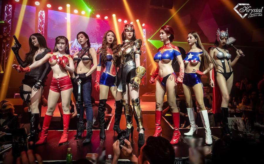 Thai girls wearing avengers costume at Krystal Club Thonglor25 in Bangkok for an Avenger Endgame event