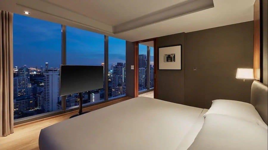view of the executive suite bedroom at the Hyatt Regency Bangkok Sukhumvit
