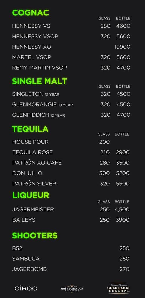 Insanity club menu 3
