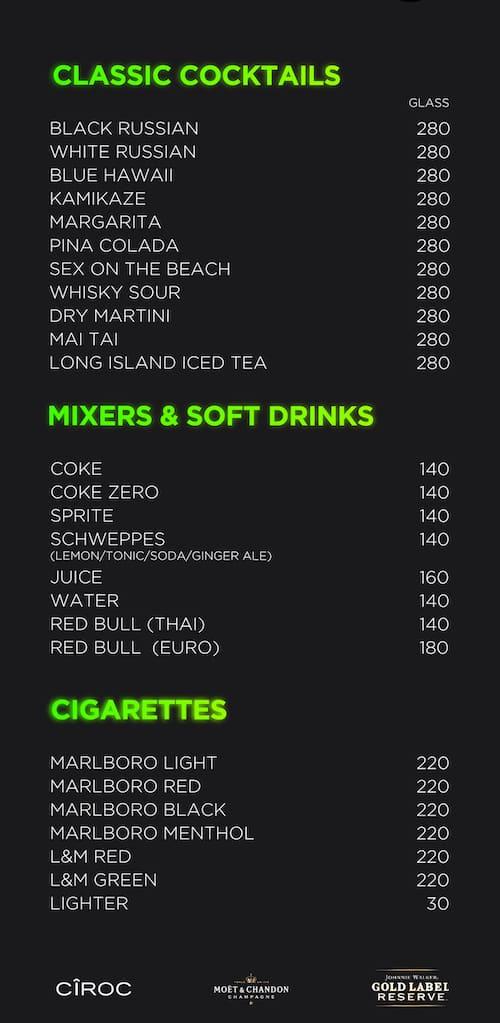 Insanity club menu 6