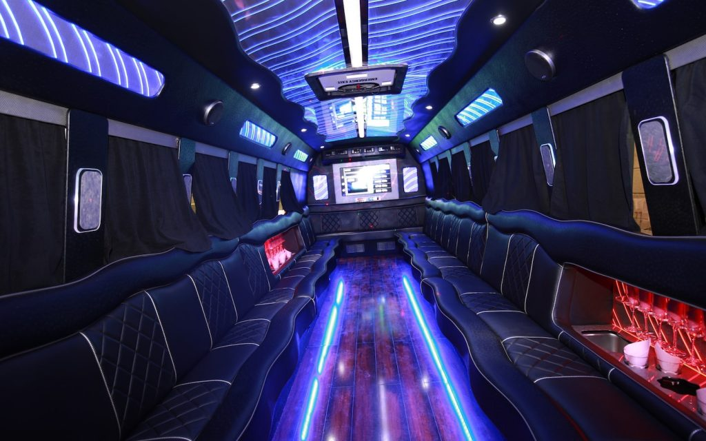 interior of a party bus available in Thailand