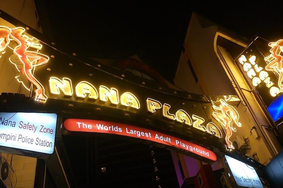 entrance sign of nana plaza in Bangkok