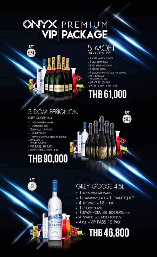 Onyx Bangkok VIP package