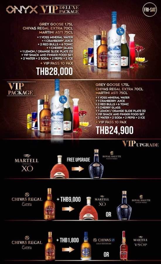 Onyx Bangkok VIP premium deluxe package