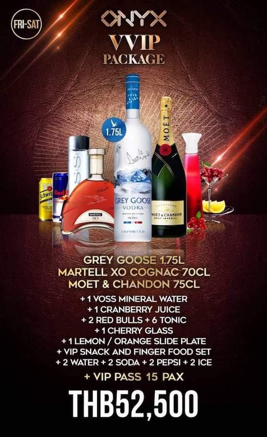 Onyx Bangkok VVIP package with cognac
