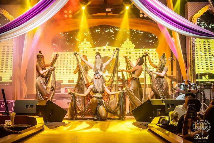 Gorgeous oriental dancers at Dubai Luxury Club in Bangkok
