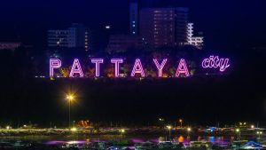 pattaya city purple neon sign