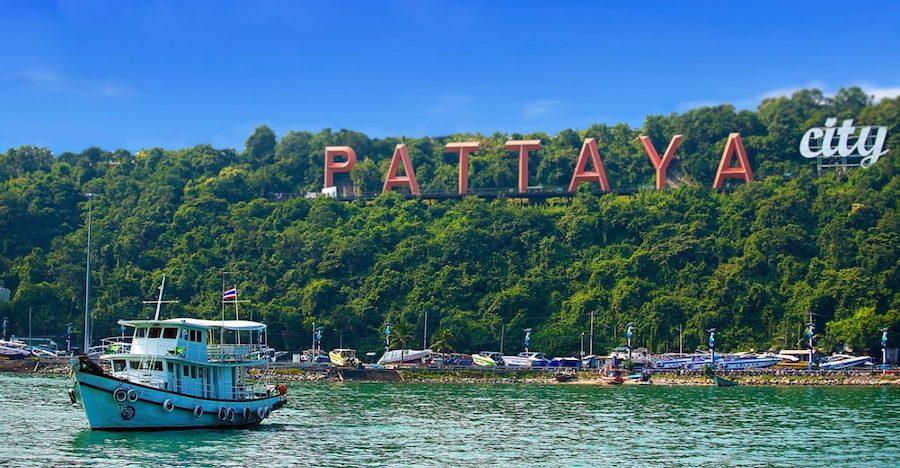 Pattaya city sign and boat