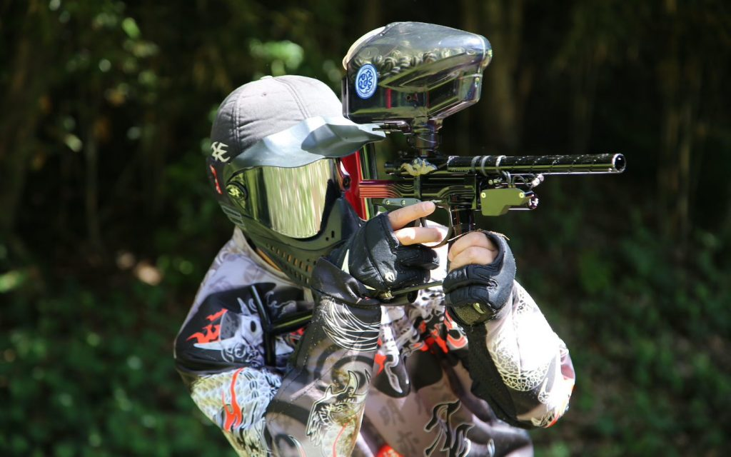 player of paintball in Bangkok with full protection gears and gun