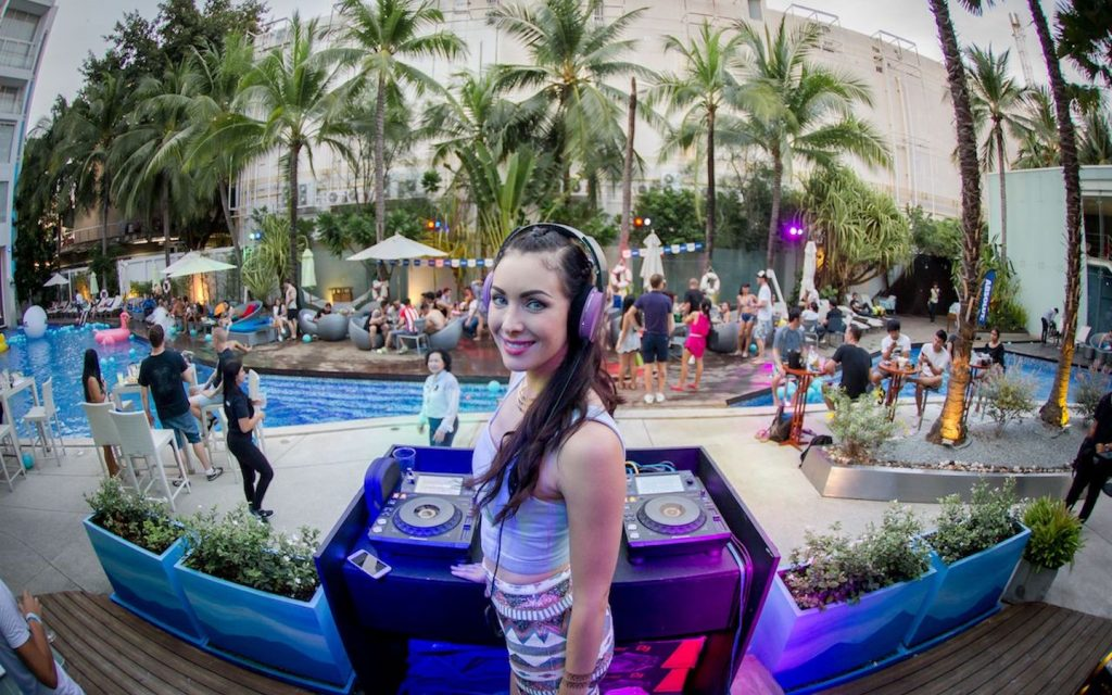 female DJ at a private pool party in Pattaya