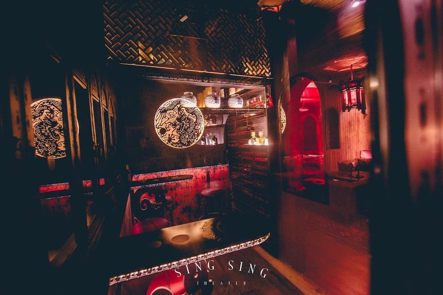 private bar in the secret room of Sing Sing Theater club in Bangkok