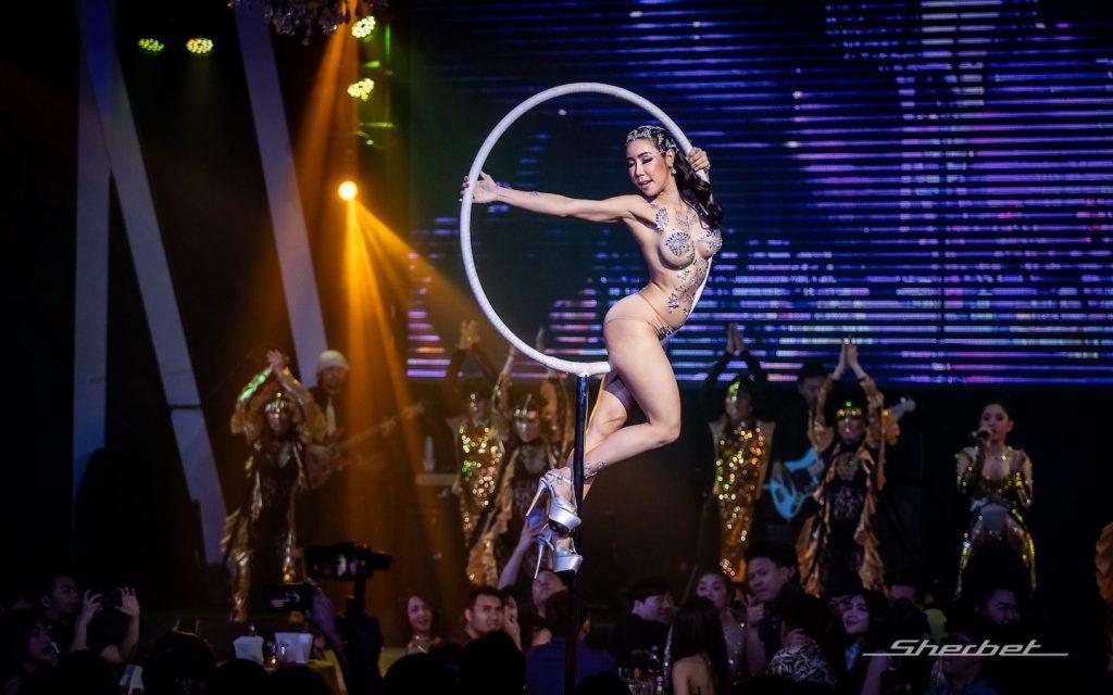 aerial dancer at sherbet club ekamai in Bangkok