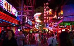 neon lights of soi cowboy red light district in Bangkok