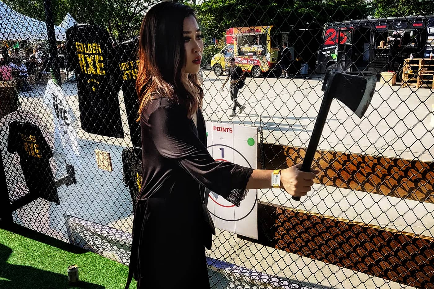 Thai Girl Axe Throwing