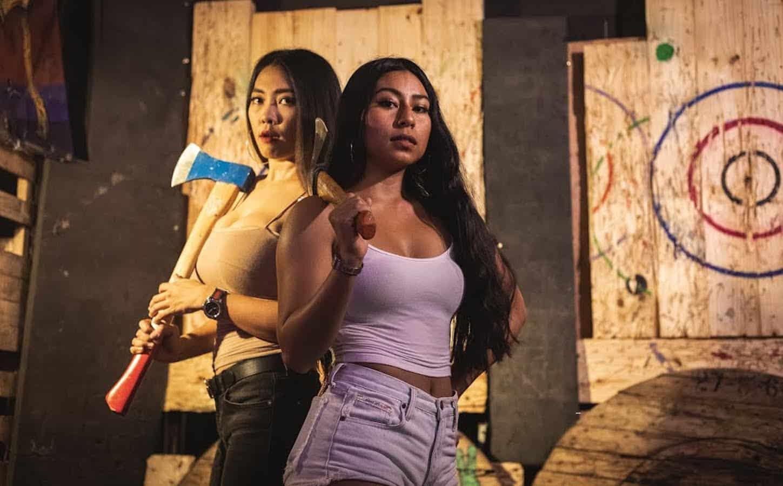 Thai girls at Golden Axe Throw Club in Bangkok