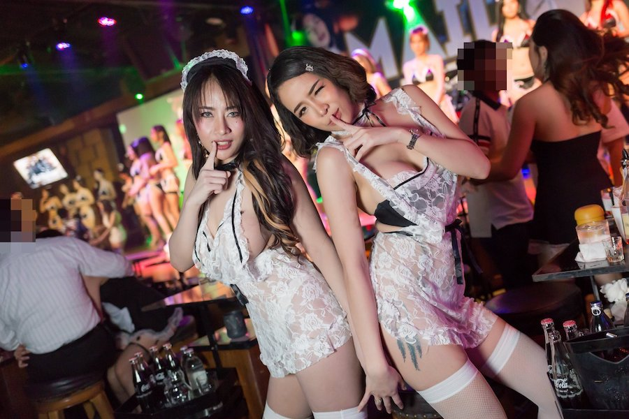 thai girls with a french maid costume at The PIMP Bangkok