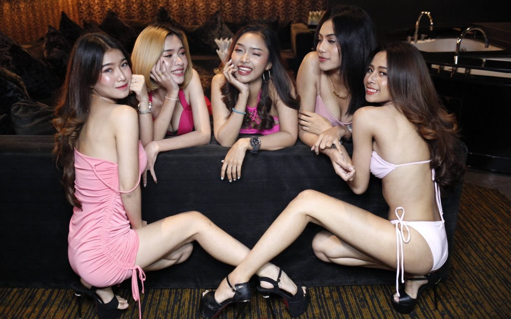 Thai girls ready for a private party in a room of a G Club in Bangkok