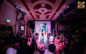 thai girls performing a show on stage at Exotica Bangkok