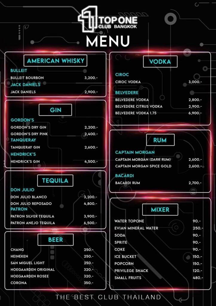 menu of TopOne Club Bangkok page 2
