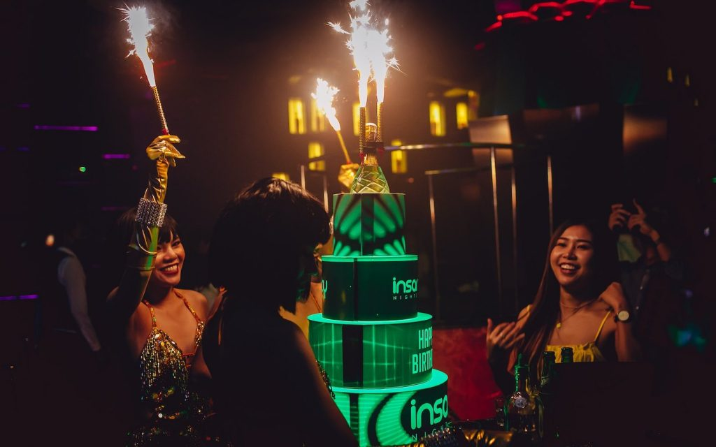 VIP bottle service at a club in Bangkok