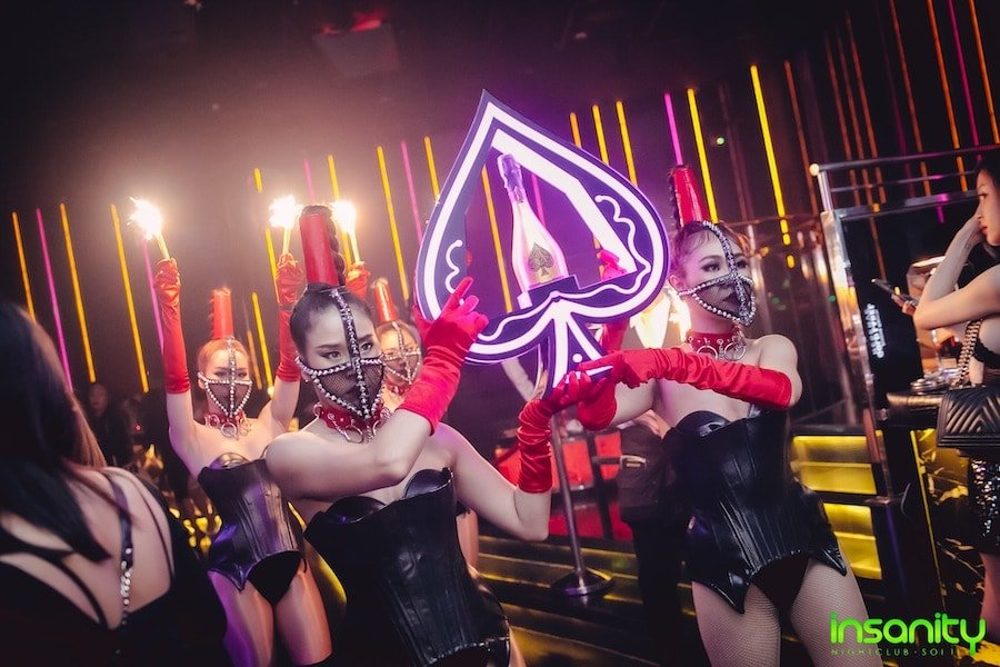 VIP champagne service at Insanity Nightclub in Bangkok