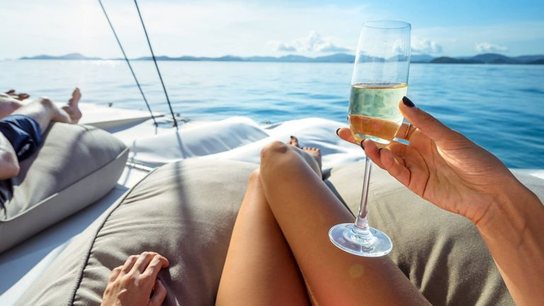 drinking champagne on a luxury yacht in Pattaya