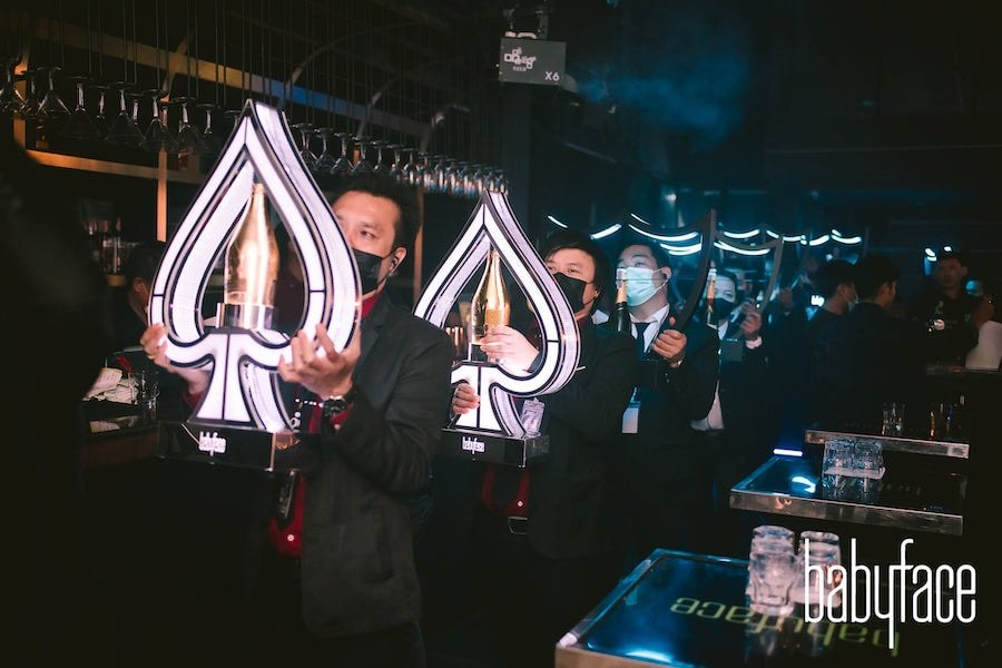 Ace of spade champagne VIP table Babyface Superclub in Bangkok