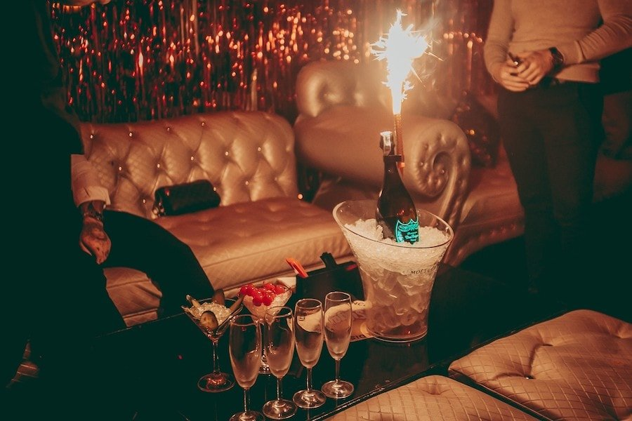 VIP table with champagne at nightclub in Bangkok