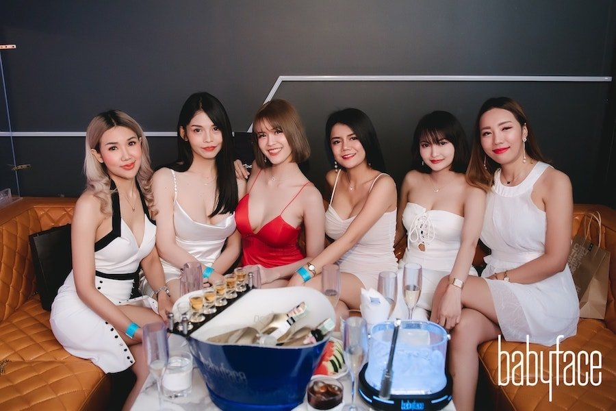 VIP table with girls at Babyface Superclub in Ekamai
