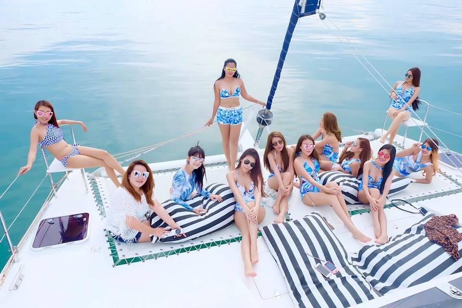 beautiful Thai models on a yacht in Pattaya